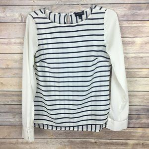 The Limited XS Ivory Navy Blue Striped Blouse